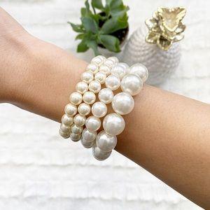 Faux Pearl Bracelet Set